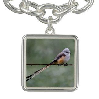Scissor-tailed Flycatcher perched on barbed wire Bracelet