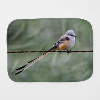 Scissor-tailed Flycatcher perched on barbed wire Burp Cloth