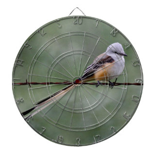 Scissor-tailed Flycatcher perched on barbed wire Dartboard