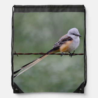 Scissor-tailed Flycatcher perched on barbed wire Drawstring Backpack