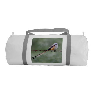 Scissor-tailed Flycatcher perched on barbed wire Duffle Bag