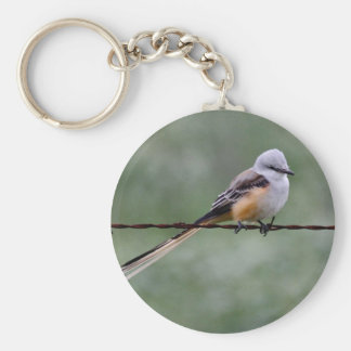 Scissor-tailed Flycatcher perched on barbed wire Keychain