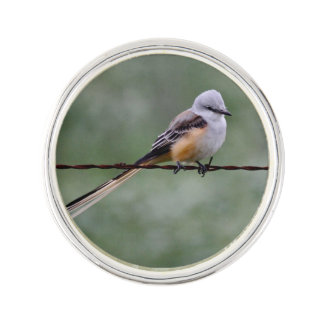 Scissor-tailed Flycatcher perched on barbed wire Lapel Pin