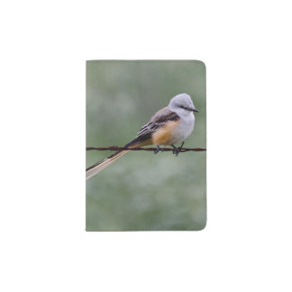 Scissor-tailed Flycatcher perched on barbed wire Passport Holder