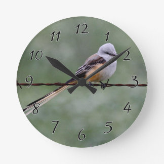 Scissor-tailed Flycatcher perched on barbed wire Round Clock