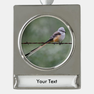 Scissor-tailed Flycatcher perched on barbed wire Silver Plated Banner Ornament