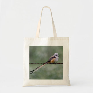 Scissor-tailed Flycatcher perched on barbed wire Tote Bag