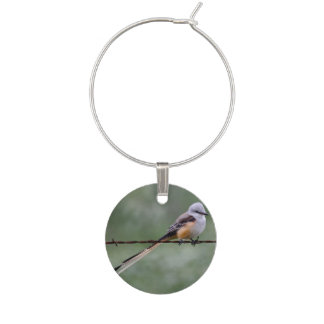 Scissor-tailed Flycatcher perched on barbed wire Wine Charm