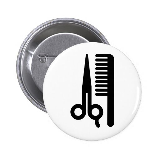 Scissors and Comb 2 Inch Round Button
