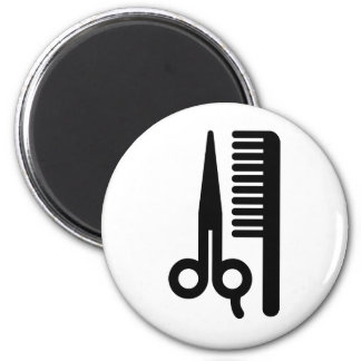 Scissors and Comb 2 Inch Round Magnet