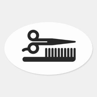 Scissors and Comb Oval Sticker