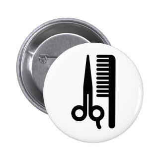 Scissors and Comb Pinback Button