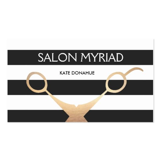 Scissors Black and White Striped Hair Salon Double-sided Standard Business Cards (pack Of 100)