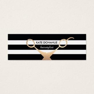 Scissors Black and White Striped Salon Appointment Mini Business Card