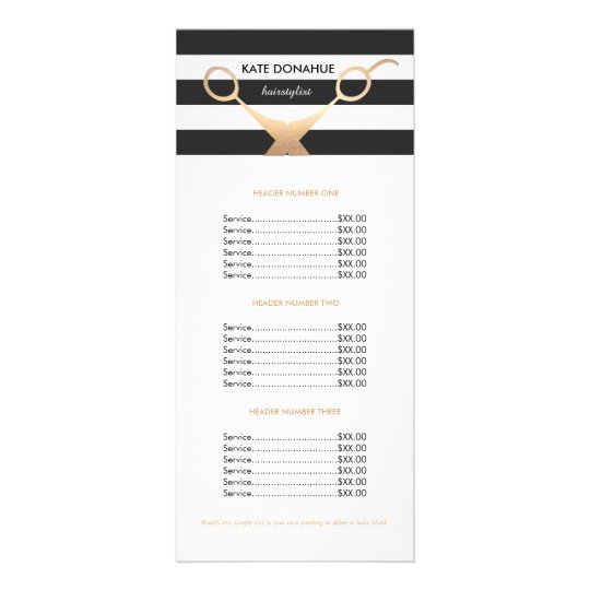 scissors black and white striped salon price list rack card. Black Bedroom Furniture Sets. Home Design Ideas