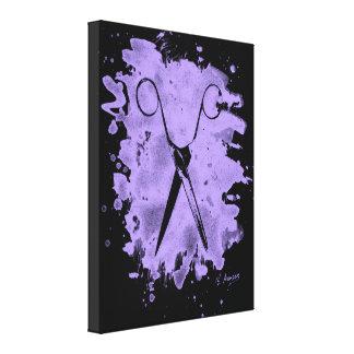 Scissors - bleached violet canvas print
