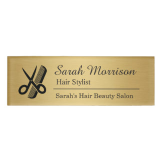 Scissors Comb Hair Stylist Salon Brushed Gold Name Tag