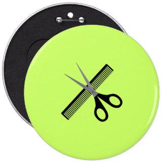 scissors & comb pinback button