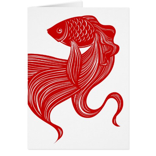 Scissors-cut Goldfish Greeting Card