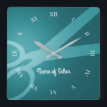 "Scissors | Cyan | Hair Salon Square Wall Clock<br><div class=""desc"">Dark cyan wall clock with a pair of scissors,  white roman numerals,  and the option to add your name or the name of your business.</div>"