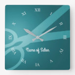 Scissors   Cyan   Hair Salon Square Wall Clock