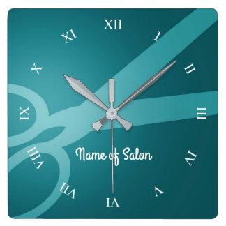 Scissors | Cyan | Hair Salon Square Wall Clock
