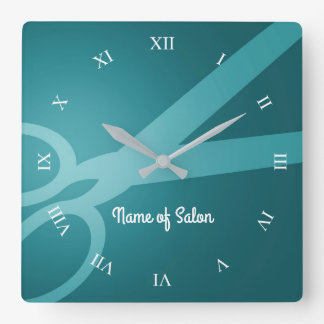 Scissors | Cyan | Hair Salon Square Wall Clock