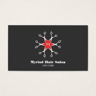 Scissors Hair Stylist Hair Salon Black Monogram Business Card