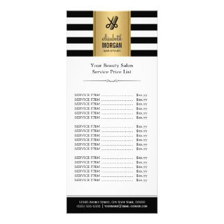 Scissors Logo Gold Black White Stripes Price List Rack Card