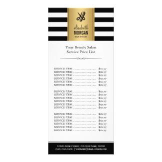 Scissors Logo Gold Black White Stripes Price List Rack Card
