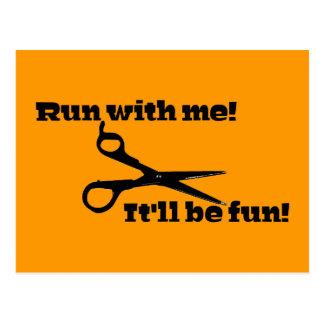 Scissors - Run With Me! It'll Be Fun! Postcard