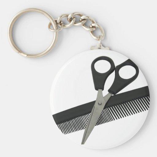 ScissorsComb052010 Basic Round Button Keychain