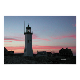 Scituate Light with Pink Clouds Poster