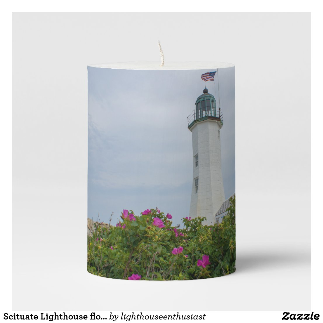 Scituate Lighthouse flowers Pillar Candle