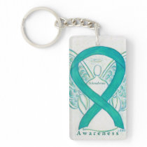 Scleroderma Angel Teal Awareness Ribbon Keychain