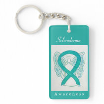 Scleroderma Awareness Ribbon Angel Keychain