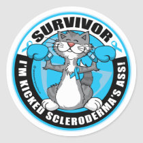 Scleroderma Boxing Cat Classic Round Sticker