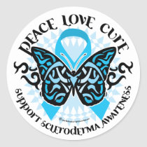 Scleroderma Butterfly Tribal Classic Round Sticker