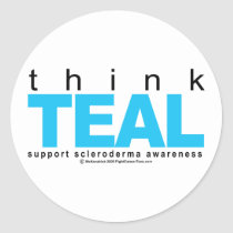 Scleroderma THINK Teal Classic Round Sticker