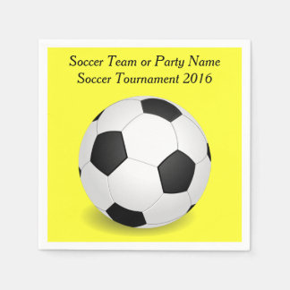Scoccer Sports Ball Party Yellow Custom Name Color Paper Napkin