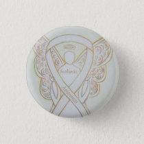 Scoliosis Awareness Angel White Ribbon Art Pin