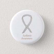 Scoliosis Awareness White Ribbon Custom Art Pin
