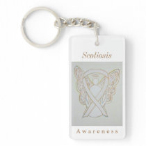Scoliosis Awareness White Ribbon Keychain