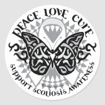 Scoliosis Butterfly Tribal Classic Round Sticker