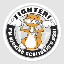 Scoliosis Cat Fighter Classic Round Sticker