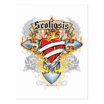 Scoliosis Cross & Heart Postcard