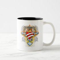 Scoliosis Cross & Heart Two-Tone Coffee Mug