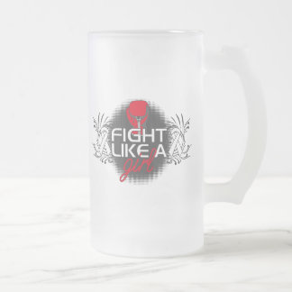Scoliosis Fight Like A Girl Glove 16 Oz Frosted Glass Beer Mug