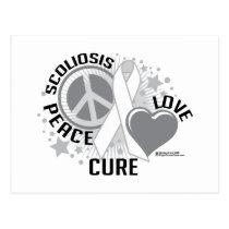 Scoliosis Peace Love Cure Postcard