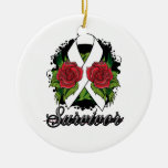 Scoliosis Survivor Rose Grunge Tattoo Christmas Ornaments